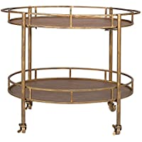 Creative Co-op Metal Oval Two-Tier Bar Cart on Casters, Gold