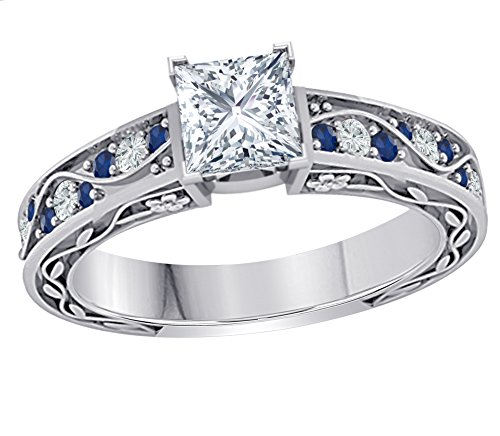 Princess Cut Sapphire Gem - Gems and Jewels Stunning 1.00 CT Princess Cut Cubic Zirconia & CZ Blue Sapphire .925 Sterling Silver Plated Promise Engagement Wedding Ring Gift