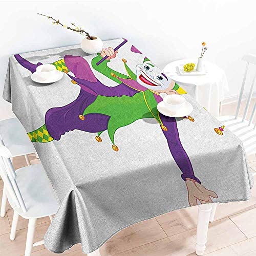 Willsd Spill-Proof Table Cover,Mardi Gras Cartoon Style Jester in Iconic Costume with Mask Happy Dancing Party Figure,High-end Durable Creative Home,W54x90L Multicolor]()