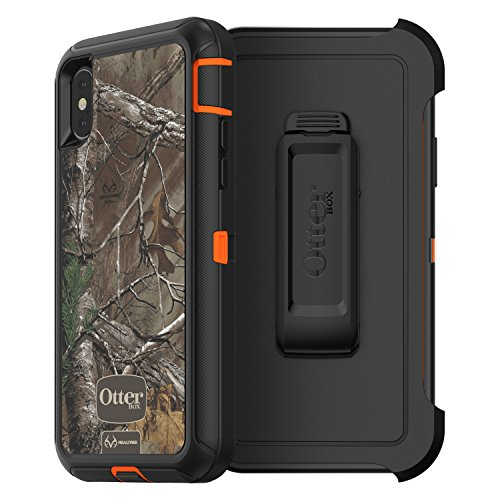 OtterBox 77-57220 Defender Series Case for iPhone X (ONLY) - (Blaze Orange/Black W/Realtree Xtra CAMO) by OtterBox