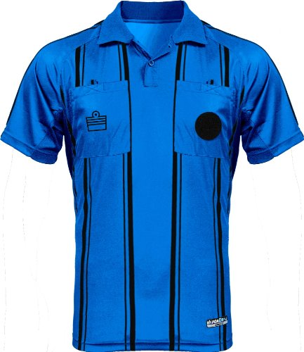 Admiral Short Sleeve Pro Soccer Referee Jersey, Blue/Black, Youth Large ()
