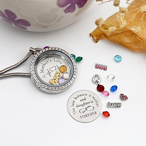 Beffy Daughter or Mom Love Gift, Memory Floating Locket Pendant Necklace with Birthstones & Charm for Morther Mom Mammy Mama or Girls by Beffy (Image #4)
