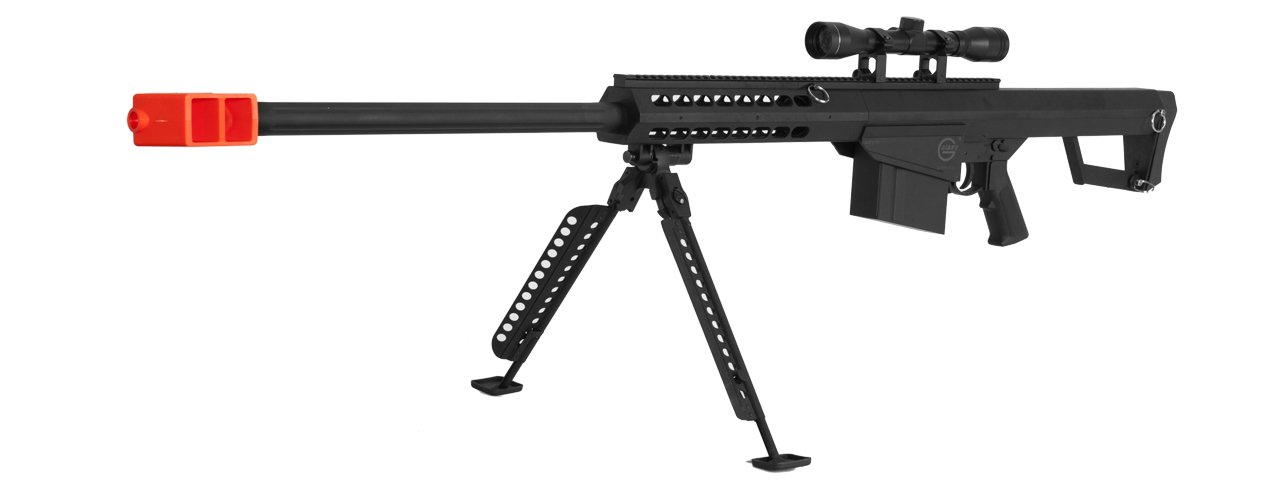 Lancer Tactical M82 50 Cal Spring Airsoft Sniper Rifle Gun Marksman FPS 435 w/ 3-9x40 Scope, Nylon Polymer Bipod by Lancer Tactical (Image #3)