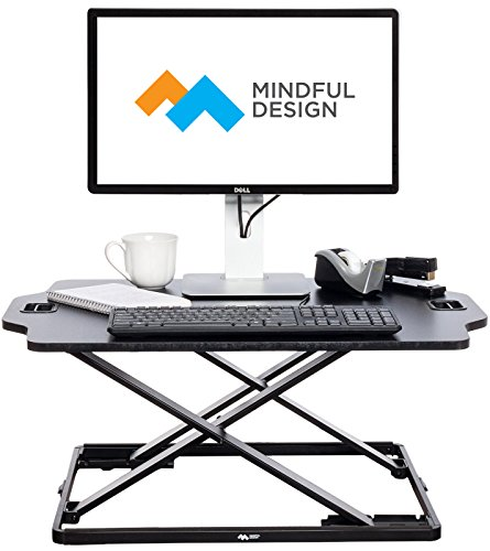 Ultra Slim Adjustable Standing Desk - Sit to Stand Elevating Desk Top Converter by Mindful Design (Black) (Treadmill For Stand Up Desk)