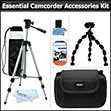 Essential Accessory Kit For Canon VIXIA HF M30 M300 HF S200 FS300 HFS10 M31 M32 S20 R100 R10 FS31 HV40 HF100 HF200 DC410 FS100 FS200 FS20 HV20 HF10 HF20 HV30 DC100 DC310 DVD DC320 R11 Camcorder Includes 50'' Tripod + Hard Case + Flexible Tripod + More