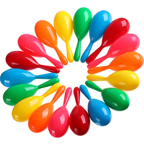 (Shappy 30 Pieces Maracas Colorful Maracas Fiesta Maracas Plastic Maracas Pool Toys Noise-Making Toys for Party Favors or Musical Instruments, 6 Colors)