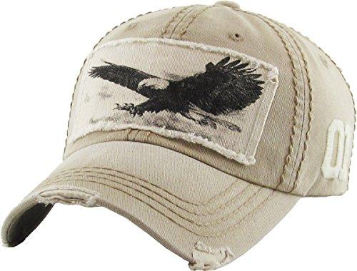 KBVT-573 KHK Eagle Vintage Distressed Dad Hat Baseball Cap - Eagle Distressed