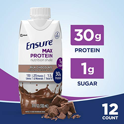 affordable Ensure Max Protein Nutrition Shake with 30g of protein, 1g of Sugar, High Protein Shake, Milk Chocolate, 11 fl oz, 12 Count