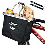 MattiSam Bicycle Basket, Folding Bike Basket Front Handlebar Bag for Cruiser, Women, Dog Carrying   Detachable - 5KG Load Capacity   with Phone Pouch, Aluminum Frame, 600D Water Resistant Oxford Cloth