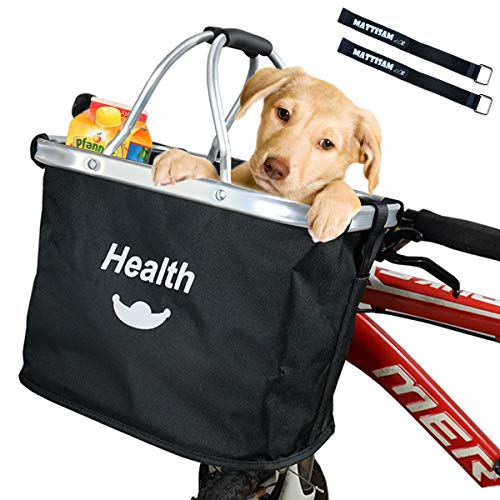 ket, Folding Bike Basket Front Handlebar Bag for Cruiser, Women, Dog Carrying | Detachable - 5KG Load Capacity | with Phone Pouch, Aluminum Frame, 600D Water Resistant Oxford Cloth ()