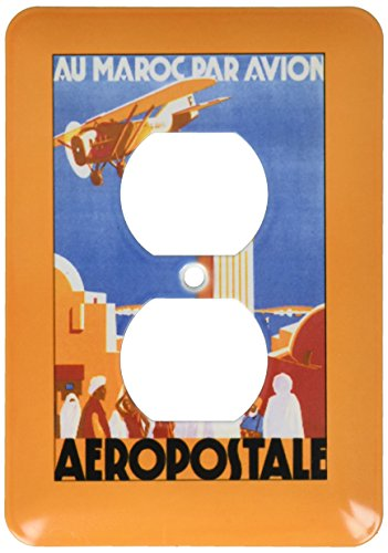 3dRose lsp_172095_6 Au Maroc Par Avion Aeropostale Air Travel Poster 2 Plug Outlet Cover by 3dRose