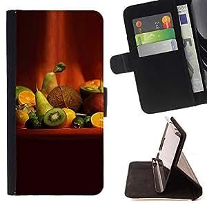 BullDog Case - FOR/HTC One M7 / - / Fruit Macro Fruit Art /- Monedero de cuero de la PU Llevar cubierta de la caja con el ID Credit Card Slots Flip funda de cuer