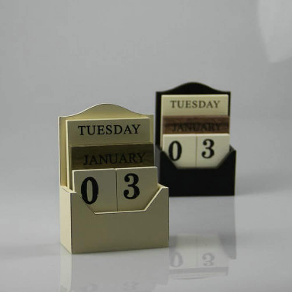 SUPVOX Wooden Perpetual Calendar Vintage Blocks Table Calendar for Desk Office Home Bedroom