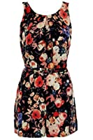FANTASIA BOUTIQUE ® Ladies Sleeveless Pleated Flower Floral Print Belted Zip Back Romper Playsuit