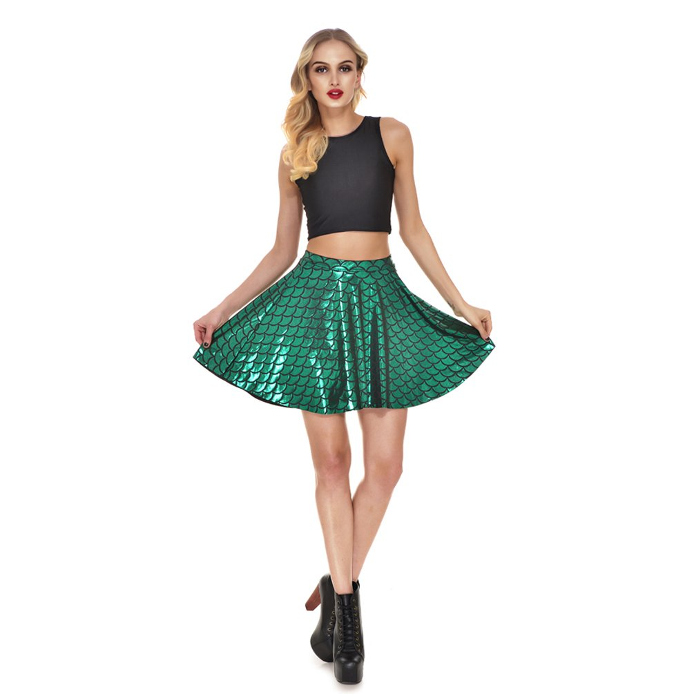 AISKLY Fish Scales Skirts Women Casual Cute Above Knee Mini Flared Skater skirt, YL-2001, Large by AISKLY (Image #5)