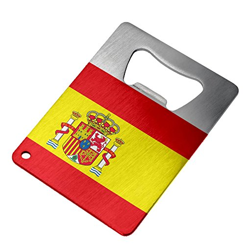 Bottle Opener - Stainless Steel - Fits in wallet - Flag of Spain (Spanish) by ExpressItBest
