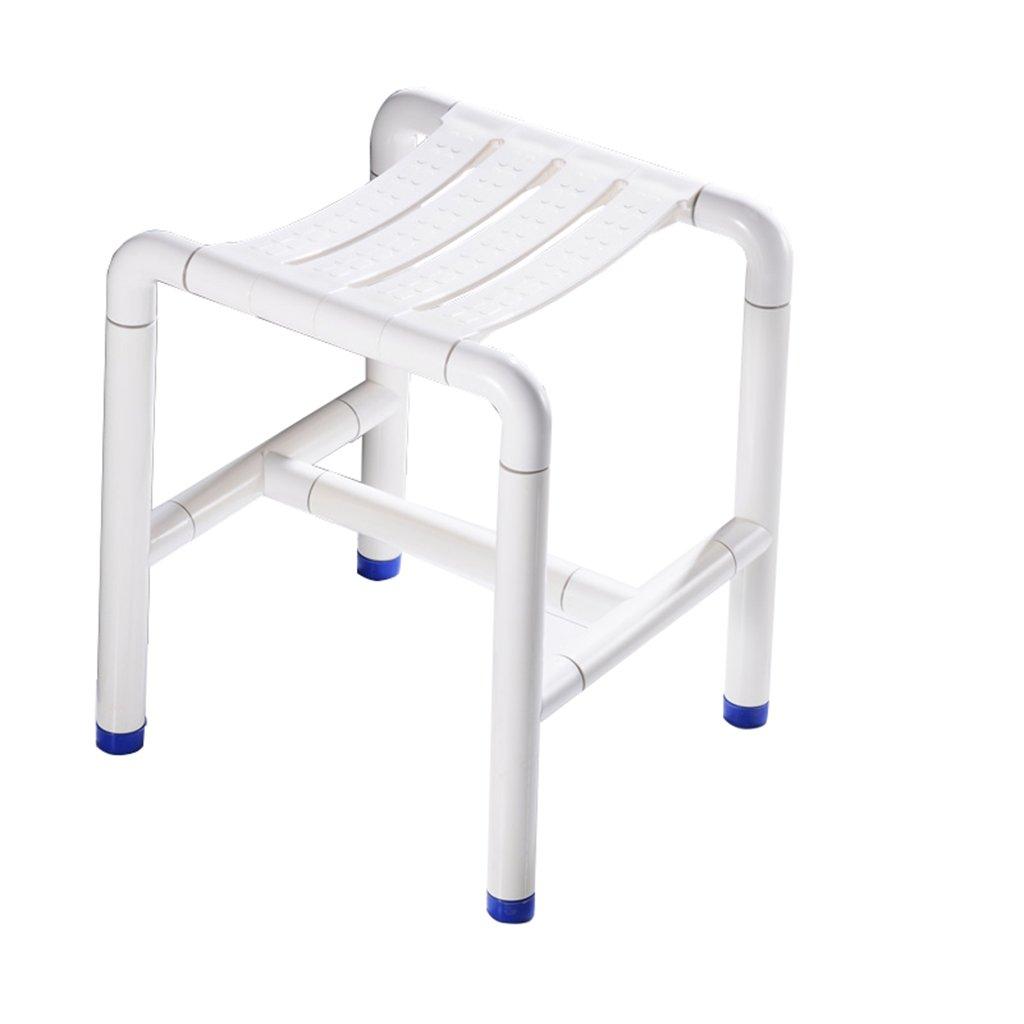 バリアフリーシャワースツールバスルームステンレススチール製ノンスリップシャワーチェア (色 : 白) B07DFF3VGV 白 白