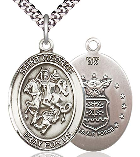 George Air Force Medal - Heartland Store Men's Pewter Oval Saint George Air Force Medal + 24 inch Rhodium Plate Endless Chain