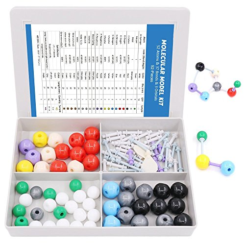 Swpeet 92 Pcs Chemistry Molecular Model Student and Teacher Set, Molecular Model Set for Inorganic & Organic Chemistry - 52 Atoms & 37 Bonds & 3 Orbitals by Swpeet
