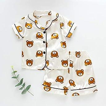 Toddler Kids Baby Boys Girls Pajamas Sets Lapel Silk Satin Button-Down Pjs Nightwear Sleepwear Loungewear 2Pcs Pajama Set
