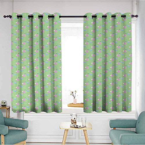Beihai1Sun Window Blackout Curtains,Baby,Child Birth Announcement Celebration Theme Pattern with Birds Carrying Newborn Babies,Multicolor,Hipster Patterned,W63x72L