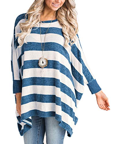 MIROL Women's Casual Fall 3/4 Sleeves Striped Poncho Style Asymmetrical Hem Loose Fit Tunic Sweatshirts - Sweater Asymmetrical Striped