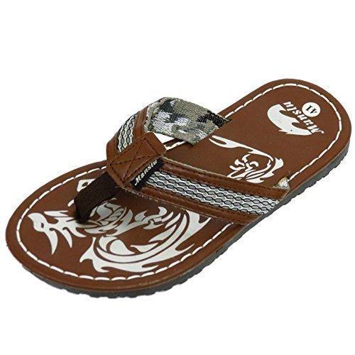 HeelzSoHigh Herren Braun Zehensteg Sommer Flip-Flops Urlaub Strand Bequem Sandalen Schuhe Größen 6-10