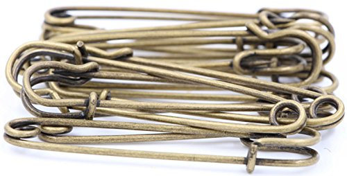 Safety Pins Large Heavy Duty Safety Pin - LeBeila 12pcs Blanket Pins 3 Inch Stainless Steel Wire Safety Pin Extra Strong & Sturdy Bulk Pins For Blankets, Skirts, Crafts, Kilts (12pcs, Bronze)