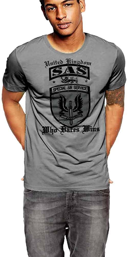 British SAS T-Shirt UK Spec Ops Shield Dark Grey Shirt By Warface Apparel