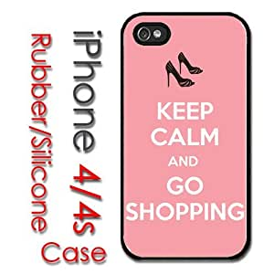 iPhone 4 4S Rubber Silicone Case - Keep Calm and Go Shopping Heels