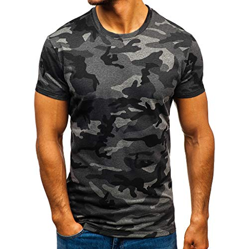 Blue-catMen's Camouflage Striped Pattern Casual Fashion Lapel Short Sleeve Shirt Camouflage Cool Top