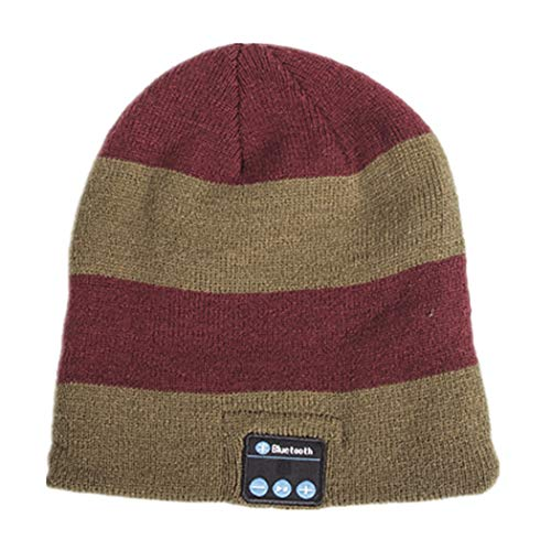TLMYDD Fashion Knit Striped Bluetooth Headset Cap Soft and Warm Bluetooth Earphone (Color : Wine red Brown)