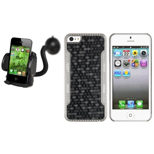 For iPhone 5 5th Luxury Black Snake Rear Leather Back Case Skin Cover+Car Mount