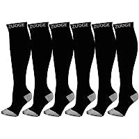 6 Pairs Compression Socks Pack - Best Medical, Nursing, Travel & Flight Socks - Running & Fitness - 15-20mmHg