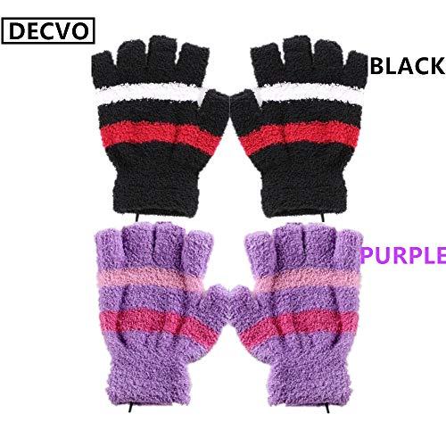 Price comparison product image DECVO USB 2.0 Powered Stripes Heating Pattern Knitting Wool Heated Gloves Fingerless Hands Warmer Mittens Laptop Computer Warm Gloves for Women Men Girls Boys 2 Pack (Purple+Black)