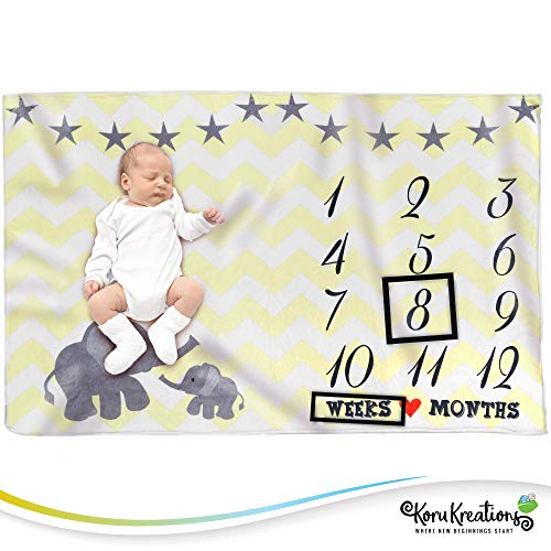 Baby Monthly Milestone Blanket Unisex | Perfect Newborn Blanket | 100% Quality Soft Fleece Baby Blanket | Large Personalized Elephant Background Newborn Photography Props | (Yellow) (Yellow Baby Decor)