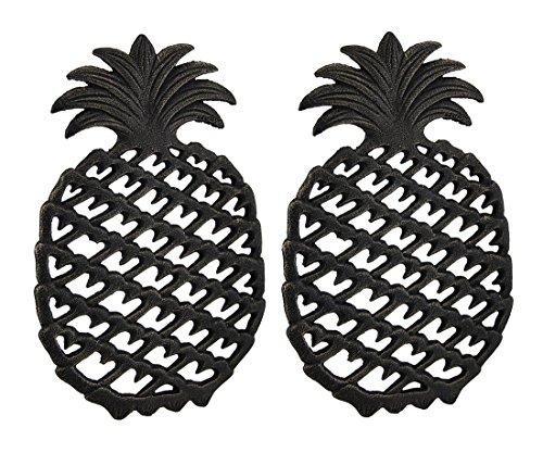 2 Piece Antique Bronze Finish Tropical Pineapple Cast Iron Trivet Set