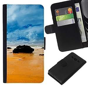 Planetar® Modelo colorido cuero carpeta tirón caso cubierta piel Holster Funda protección Para Samsung Galaxy A3 / SM-A300 ( Rocks on the beach )