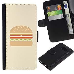 LASTONE PHONE CASE / Lujo Billetera de Cuero Caso del tirón Titular de la tarjeta Flip Carcasa Funda para Samsung Galaxy S6 SM-G920 / hamburger yellow brown drawing food