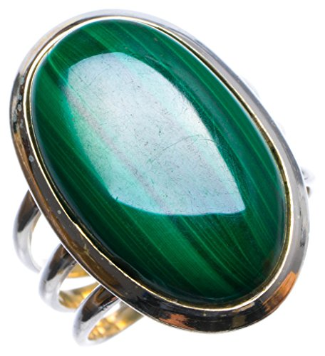 StarGems tm Natural Malachite Handmade Unique 925 Sterling Silver Ring, US size 8.25 X 2876