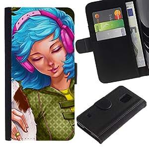Paccase / Billetera de Cuero Caso del tirón Titular de la tarjeta Carcasa Funda para - Blue Hair Pink Girl - Samsung Galaxy S5 V SM-G900