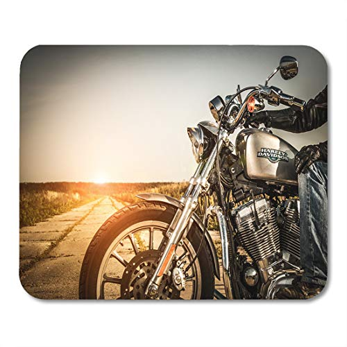 Emvency Mouse Pads Russia July 7 Biker on Bike Harley Sportster Sustains Mouse Pad for notebooks, Desktop Computers mats 9.5