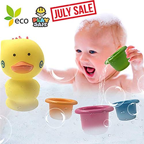 July Deals5 PCS Pool Bath Play Set for Kids Preschool Bath Toys Beach Sand Toys for Children Kids Bath Time Fun Soft Plastic Pool Bathtub Bucket Toy for Outdoor Toddler Boys Girls Stacking ()