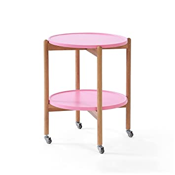 Amazon.com: PM-Nightstands Solid Wood Can Move Round Table Small ...