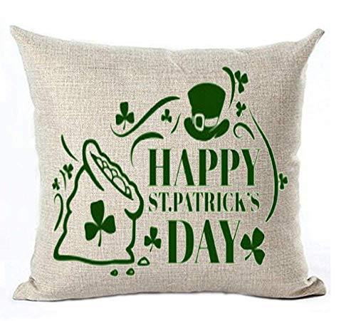 WORLDWOOD Happy St Patricks Day Green Clover Cotton Linen Throw Pillow Cover Cushion Case Holiday Decorative 18x18 inches(45 x 45 cm)