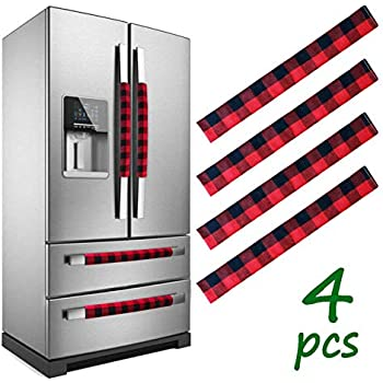 LimBridge Christmas Refrigerator Door Handle Cover, Set of 4 Buffalo Plaid with White Plush Trim, Double Door Fridge, Kitchen Microwave Dishwasher Handle Decorations