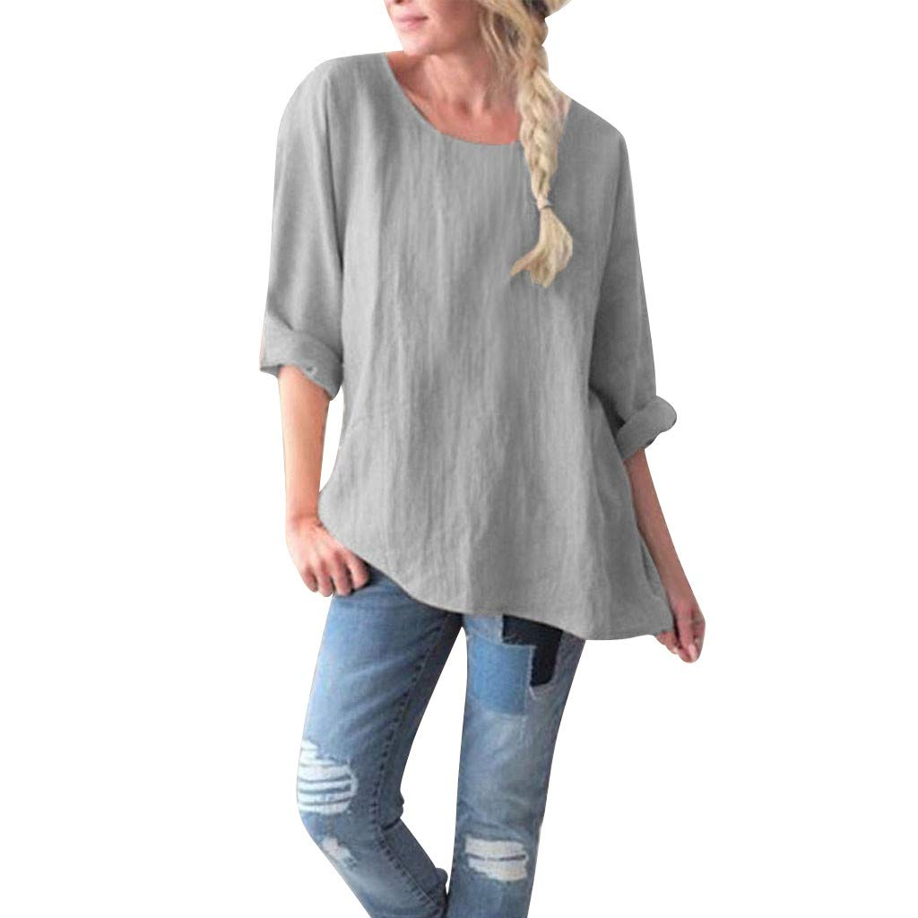 Women Round Collar Solid Color Loose Size Cotton Hemp Jacket Blouse Tops Round Neck Long Sleeve Khaki