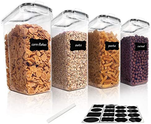 Vtopmart Cereal Storage Container Set, BPA Free Plastic Airtight Food Storage Containers 135.2 fl ounces for Cereal, Snacks and Sugar, 4 Piece Set Cereal Dispensers with 24 Chalkboard Labels, Black