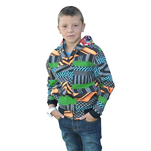 [Child Toddler Boys Full Zip Costume Skeleton Hoodie Halloween Sweatshirt (L, Multi-coloured)] (Flower Zombie Costumes For Girls)