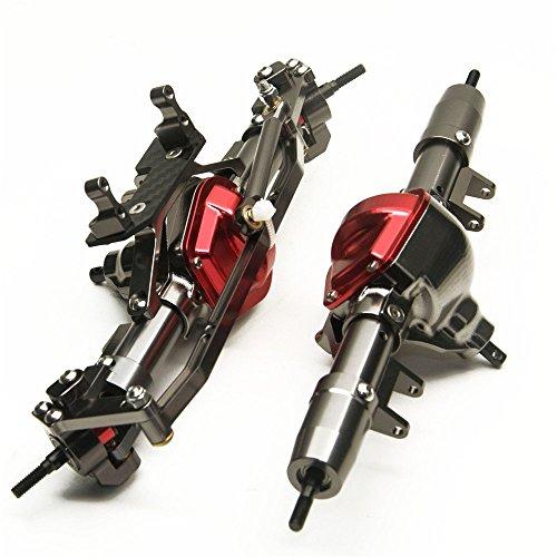(Que-T Aluminum Alloy Front Axle and Rear Axle for 1:10 Axial SCX10 RC Model Crawler Car Titanium Color)